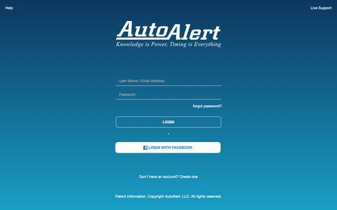 Screenshot of Login Page autoalert.com - AutoAlert   Login - captured March 22, 2019