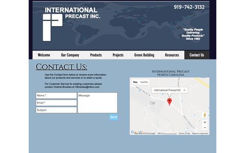 Screenshot of Contact Page international-precast.com - mysite | Contact Us - captured Oct. 12, 2018