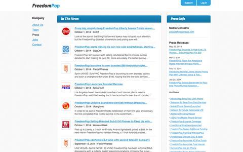 Screenshot of Press Page freedompop.com - Free Wireless Internet | Free Internet | 4G Wireless Internet - FreedomPop - captured Oct. 28, 2014
