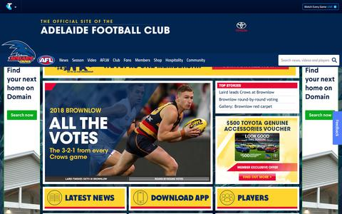 Screenshot of Home Page afc.com.au - Official AFL Website of the Adelaide Crows Football Club - captured Sept. 24, 2018