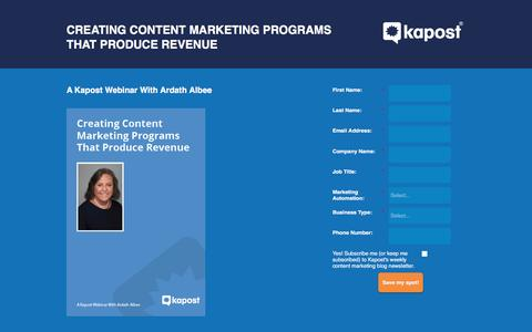 Screenshot of Landing Page kapost.com - Creating Content Marketing Programs That Produce Revenue - captured April 11, 2016