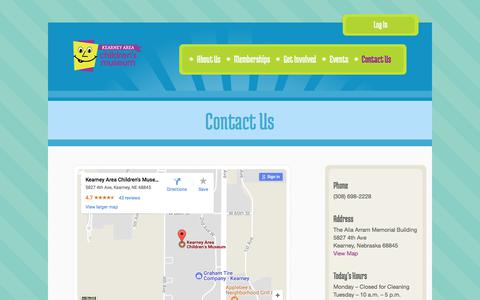 Screenshot of Contact Page kearneychildrensmuseum.org - Contact Us   Kearney Children's MuseumKearney Children's Museum - captured Oct. 17, 2017