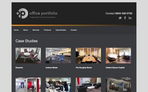 Screenshot of Case Studies Page officeportfolio.co.uk - Case Studies | Office Portfolio - captured Oct. 7, 2014