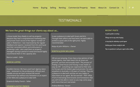 Screenshot of Testimonials Page insidestoryrealty.com.au - Testimonials - Inside Story Realty - captured Sept. 19, 2018