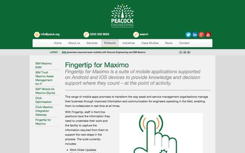 Screenshot of Products Page peluk.org - Fingertip for Maximo Peacock Engineering - captured Oct. 2, 2014