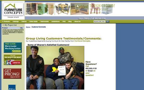 Screenshot of Testimonials Page furnitureconcepts.com - Furniture Concepts |           Group Living Furniture: Customer Testimonials - captured Sept. 30, 2014