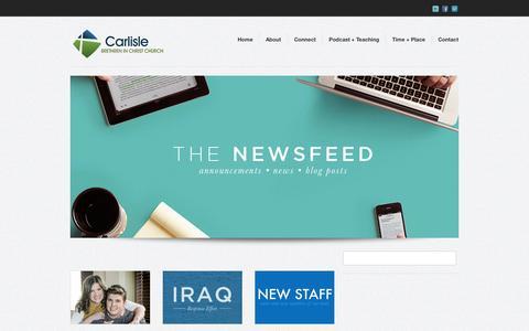 Screenshot of Press Page carlislebic.org - Newsfeed - Carlisle Brethren in Christ Church - captured Nov. 1, 2014