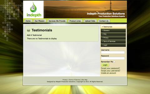 Screenshot of Testimonials Page indepthps.com - Testimonials - captured Oct. 3, 2014