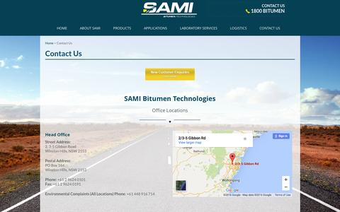 Screenshot of Contact Page sami.com.au - Contact Us - Sami Bitumen Technologies - captured Feb. 4, 2016