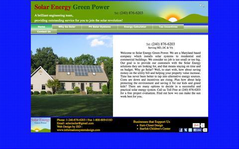 Screenshot of Home Page solarenergygreenpower.com - Solar Energy Green Power, MD Maryland, DC, VA Virginia - captured Sept. 30, 2014