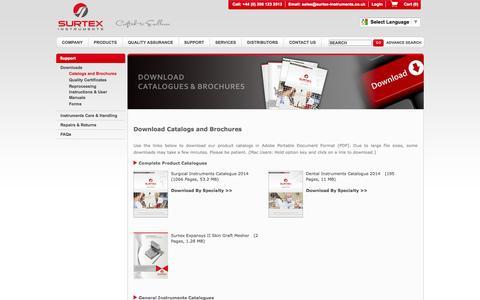 Screenshot of Support Page surtex-instruments.co.uk - Surtex Instruments Ltd | Catalogs and Brochures - captured Sept. 19, 2014
