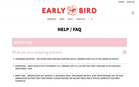 Screenshot of FAQ Page earlybirdfoods.com - FAQs – Early Bird Foods & Co. - captured Sept. 26, 2018