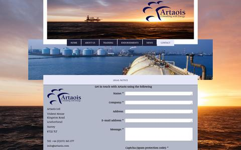 Screenshot of Contact Page artaoisconsulting.com - Artaois Ltd.  Energy Market Experts for Strategic Solutions, - Contact - captured Nov. 21, 2016