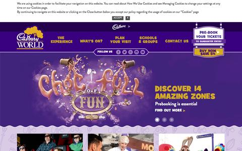 Screenshot of Home Page cadburyworld.co.uk - Cadbury World: Fun Days Out With The Kids | Day Trip Attraction - captured Jan. 14, 2016