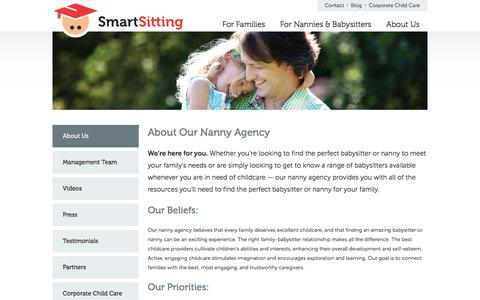 Screenshot of About Page smartsitting.com - About Our Nanny Agency | SmartSitting - captured Jan. 12, 2016