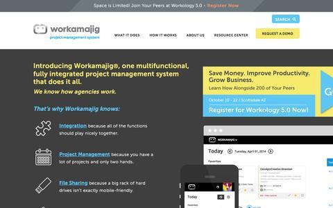 "Screenshot of Home Page workamajig.com - Workamajigâ""¢ Platinum   The #1 Creative Industry Management Tool - captured June 9, 2016"