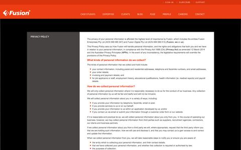 Screenshot of Privacy Page fusion.com.au - Fusion - Privacy Policy - captured Oct. 29, 2014