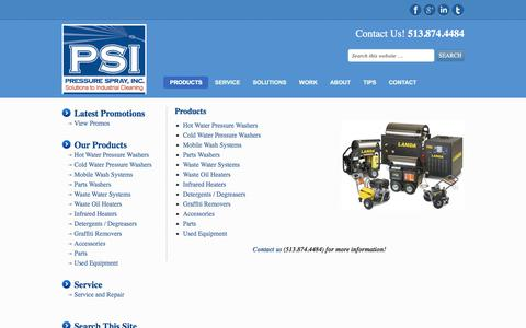 Screenshot of Products Page pressuresprayinc.com - Products - captured July 21, 2018