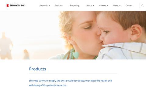 Screenshot of Products Page shionogi.com - Products - Shionogi Inc. A Discovery-Based Pharmaceutical Company - captured Oct. 18, 2018