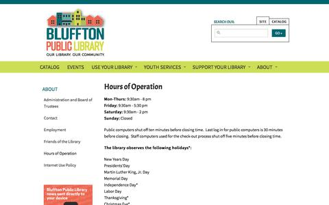 Screenshot of Hours Page blufftonpubliclibrary.org - Hours of Operation | Bluffton Public Library - captured July 2, 2018