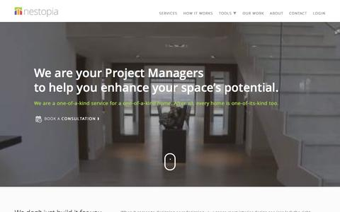 Screenshot of Home Page nestopia.com - Interior Design Project Management Services | Nestopia - captured Jan. 10, 2016