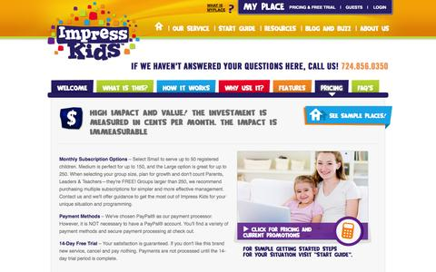 Screenshot of FAQ Page Pricing Page impresskids.com - Impress Kids	 | Our Service - captured Oct. 6, 2014