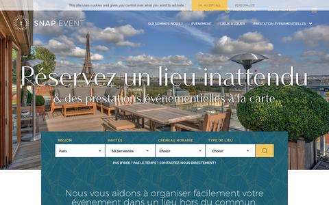 Screenshot of Home Page snapevent.fr - Organiser un événement dans un lieu de particulier avec SnapEvent - captured Nov. 5, 2018