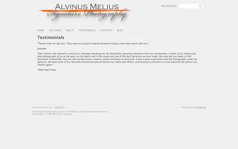 Screenshot of Testimonials Page photoshelter.com - Testimonials | alvinusmelius.com - captured Sept. 17, 2014