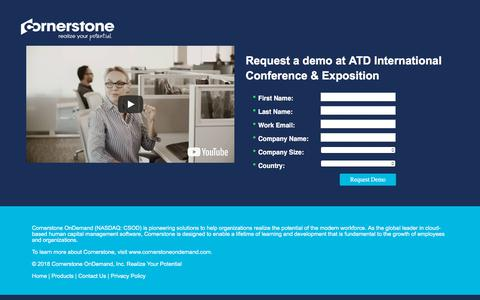 Screenshot of Landing Page cornerstoneondemand.com - CSOD | Request a Demo - captured Sept. 19, 2018