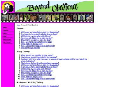 Screenshot of FAQ Page beyondobedience.com - Untitled Document - captured Sept. 30, 2014