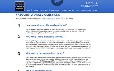 Screenshot of FAQ Page goapppros.com - FAQ for Mobile App Pros | Des Moines Iowa | Mobile App Development - captured Dec. 2, 2016
