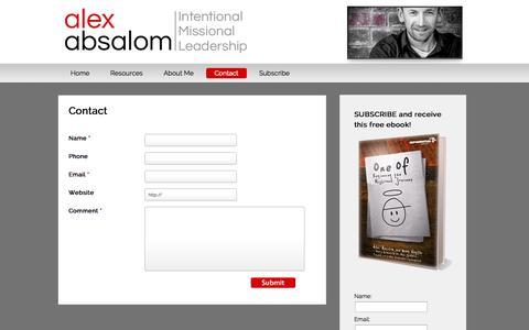 Screenshot of Contact Page alexabsalom.com - Contact - Alex Absalom - captured Oct. 6, 2014