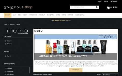 Screenshot of Menu Page gorgeousshop.co.uk - Men-U | Male Grooming Products | Gorgeous Shop - captured Sept. 19, 2014
