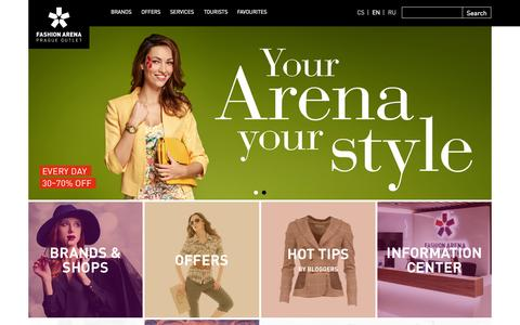 Screenshot of Home Page fashion-arena.cz - More than 100 brand boutiques with a huge offer of products at favourable outlet prices. - Fashion Arena | Prague Outlet - captured Sept. 8, 2015