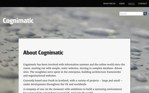 Screenshot of About Page cognimatic.com - About Cognimatic   Cognimatic - captured July 5, 2017