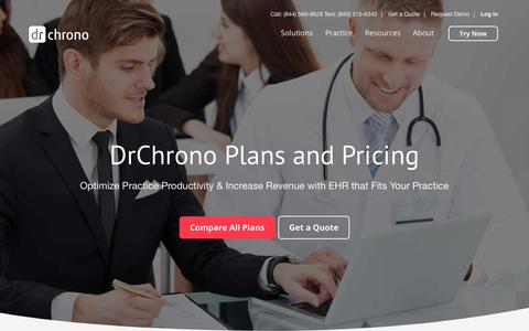 Screenshot of Pricing Page drchrono.com - EHR-EMR Plans and Pricing | DrChrono - captured July 13, 2018