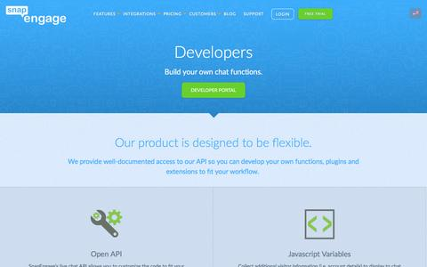 Screenshot of Developers Page snapengage.com - Live Chat API for Developers | Live Chat Software for Your Business Website | SnapEngage Live Chat - captured May 27, 2016