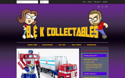 Screenshot of Home Page bkcollectables.com - B&K Collectables - Collectors serving Collectors! - captured Jan. 17, 2015