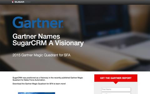Screenshot of Landing Page sugarcrm.com - SugarCRM | Gartner Magic Quadrant for SFA - captured May 20, 2016