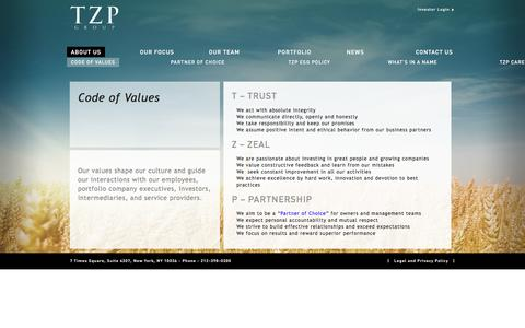 Screenshot of About Page tzpgroup.com - CODE OF VALUES   TZP Group - captured Sept. 21, 2018