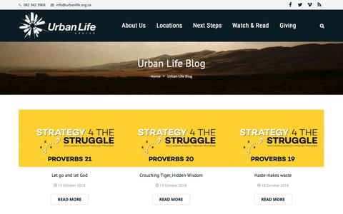 Screenshot of Blog urbanlife.org.za - Urban Life Blog - Urban Life Church - captured Oct. 19, 2018