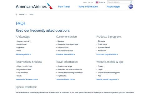 FAQs − Customer Service − American Airlines