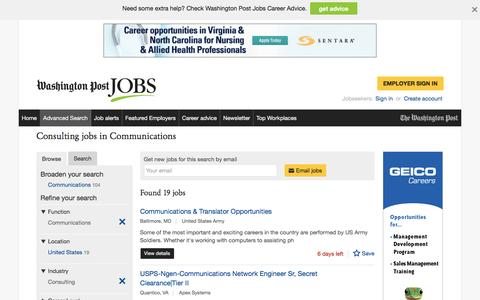Screenshot of Jobs Page washingtonpost.com - Consulting jobs in Communications - captured Oct. 30, 2016