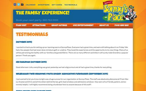 Screenshot of Testimonials Page sonnysplace.com - Testimonials - Sonny's Place - captured Nov. 5, 2014