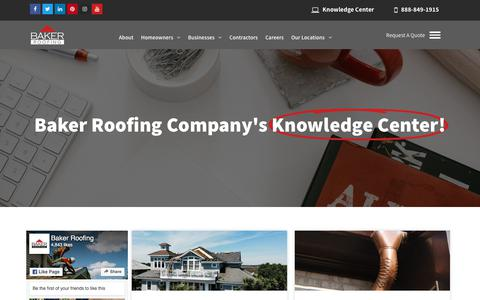 Screenshot of Blog bakerroofing.com - Knowledge Center: Your Questions Answered | Baker Roofing Company - captured June 30, 2019