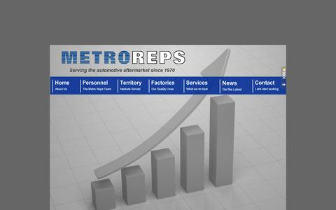 Screenshot of Home Page metroreps.com - Metro Reps - Representative Agency serving the Automotive Aftermarket since 1970 - captured Jan. 10, 2016