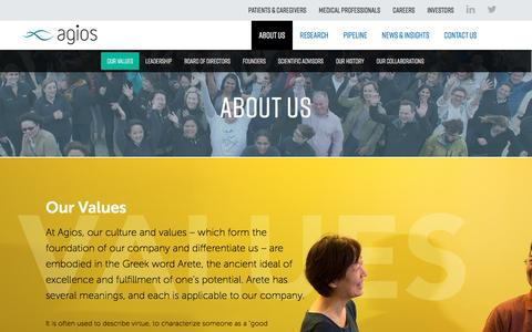 Screenshot of About Page agios.com - Our Values | About Us | Agios - captured May 9, 2017