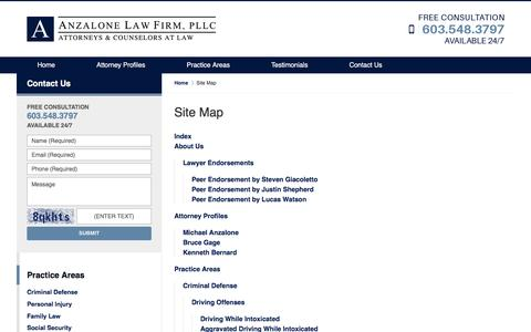 Screenshot of Site Map Page anzalonelegal.com - Site Map :: Lawrence, Massachusetts Personal Injury Lawyer Anzalone Law Firm, PLLC - captured Nov. 21, 2016