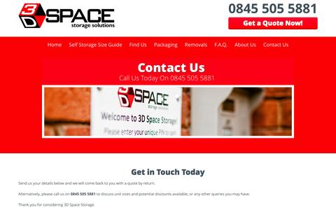 Screenshot of Contact Page 3dspacestorage.co.uk - Contact Us | 3D Space Storage - captured Aug. 14, 2015