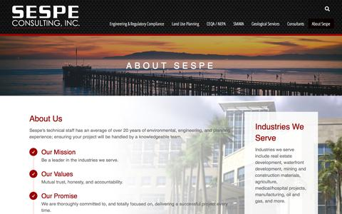 Screenshot of About Page Contact Page Case Studies Page Locations Page sespeconsulting.com - About Sespe - Sespe Consulting - captured Sept. 20, 2018